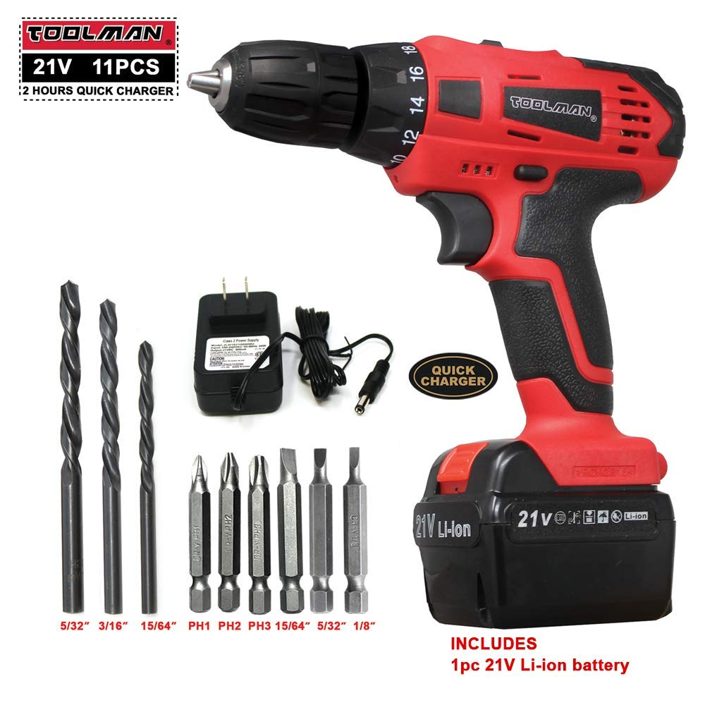Toolman Led Cordless Power Drill Kit 21V with Drill Set 11 pcs for Heavy Duty works with DeWalt Makita Ryobi Accessories