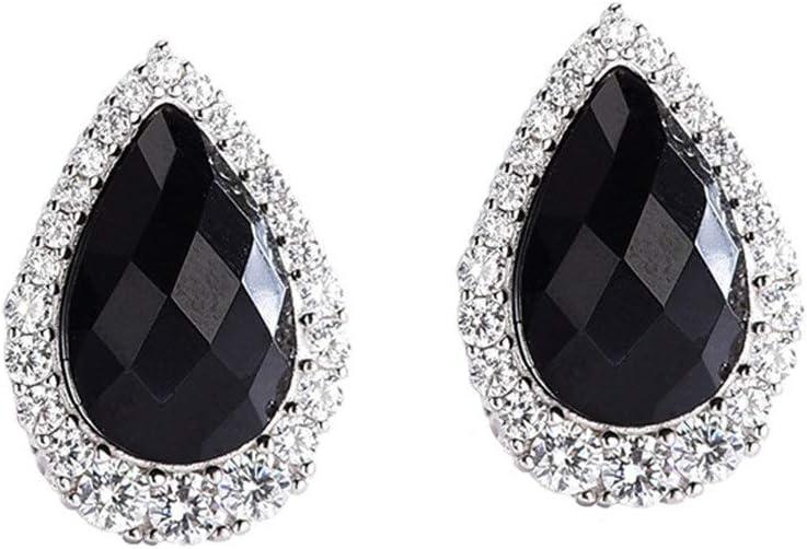 An baby123 Pendientes de Diamante Europea Personalidad Exagerada Multi-Corte Cuadrado Negro de Piedras Preciosas Pendientes S925 Pendientes de Plata