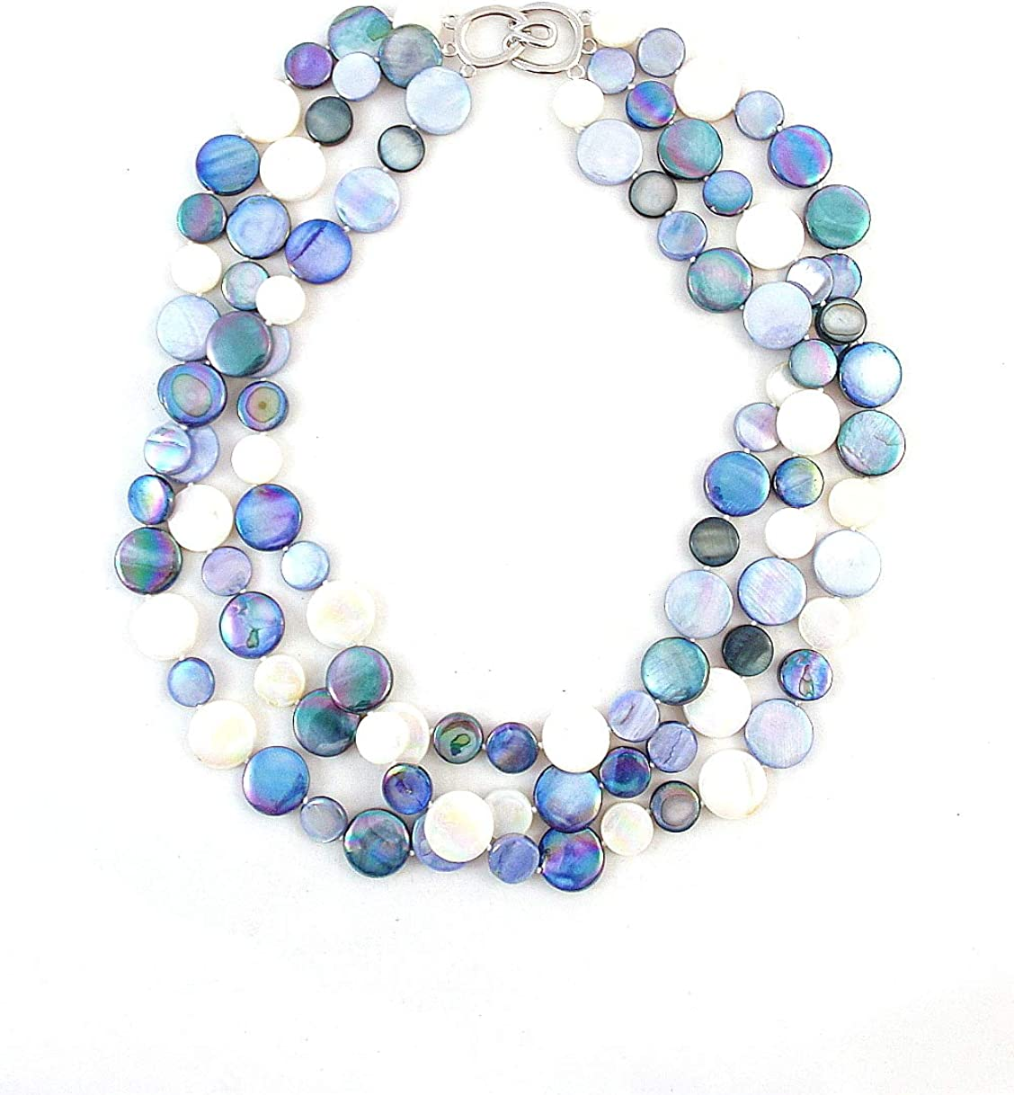 Amazon Com The Island Pearl Blue Mother Of Pearl Necklace Jewelry