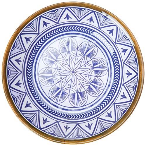 Prato Fundo Linha Mandala Mimo Style Azul/Branco
