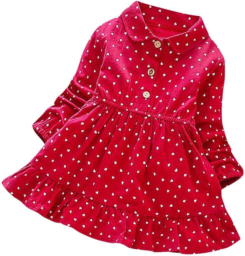 1-5 Jahre Rot Gelb Rosa Baby M/ädchen Kleid Liebe Herze Punkt Kleider Festliches Freizeit Kleid Lange /Ärmeln Knopf Revers Prinzessin Kleid Kinder Rock Spitzenkleid Fr/ühling Sommer