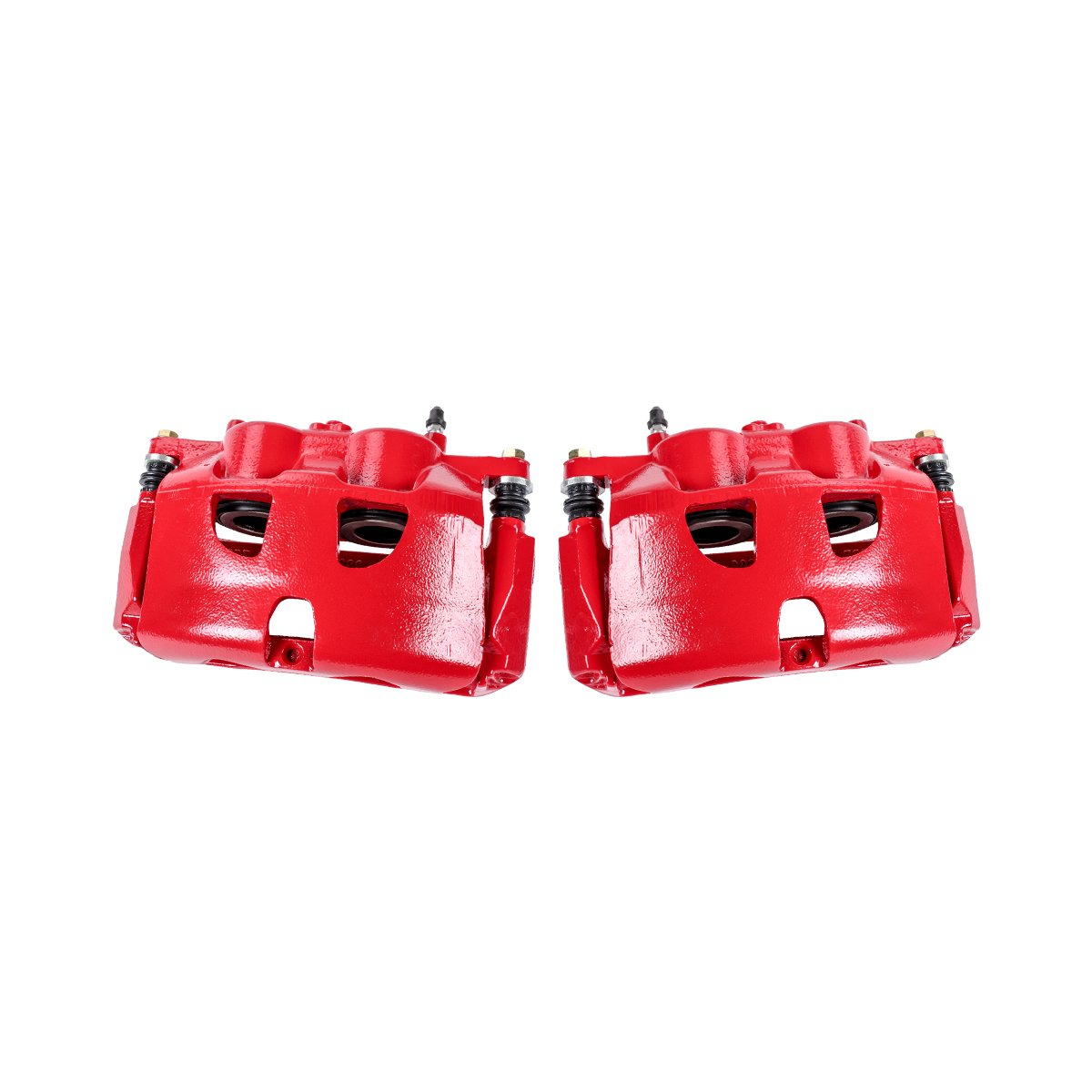 CCK01574 2 FRONT Performance Grade Red Powder Coated Semi-Loaded Caliper Assembly Pair Set
