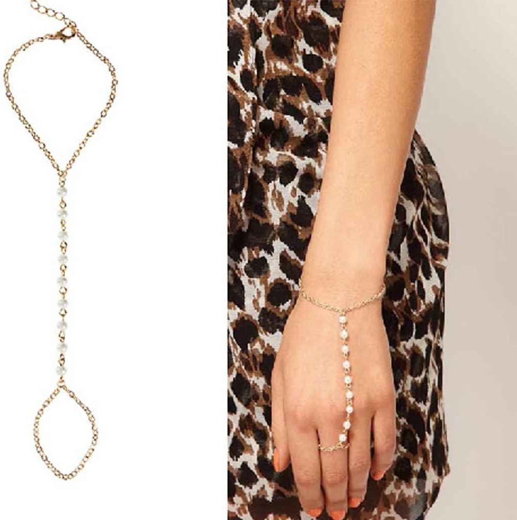 Bobury Joyería de Moda Llegada de Las Mujeres Hermosa Perlas de imitación Cadena enlazada Pulsera de Lazo de Dedo Elegante Cadena de Mano de Alambre