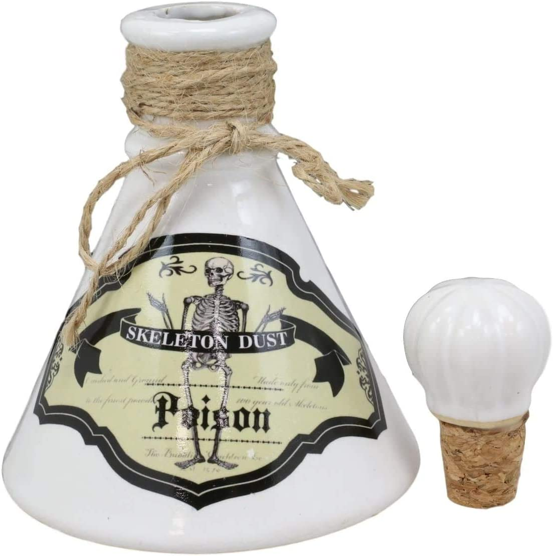 Ebros Gift Ceramic Mad Doctor Scientist Witchcraft And Sorcery Poison Prop Potion Bottle Macabre Dungeon Alchemy Halloween Accessory Small Display Container With Cork Lid (Skeleton Dust)