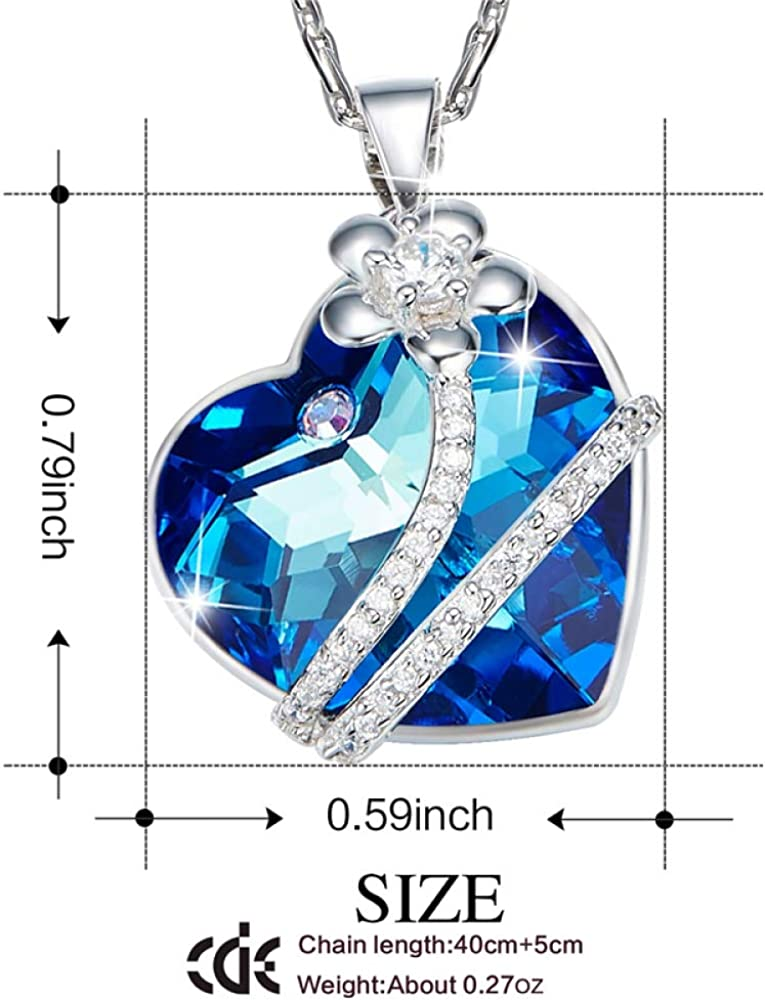 DHJAXL 925 Sterling Silver Embellished with Crystals from Necklaces Women Flower Blue Light Fine Jewelry Lover Gifts