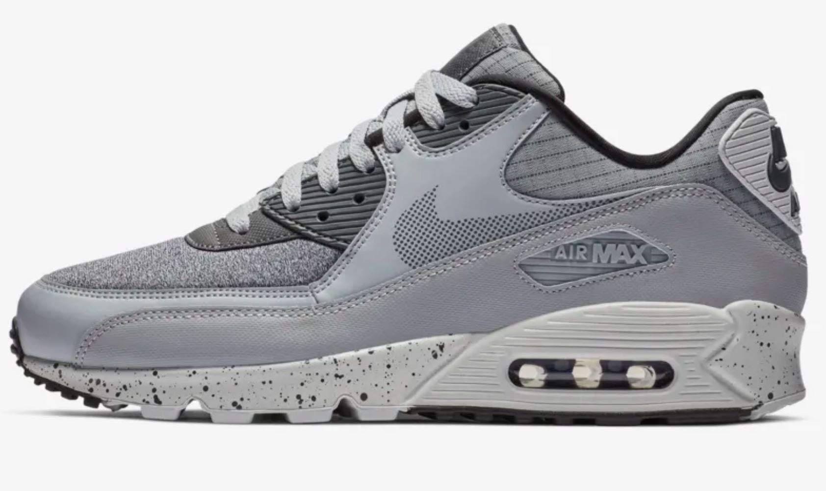 Nike Men's Air Max 90 Premium Wolf GreyDark Grey Black Pure Platinum 700155 016 (Size: 7)