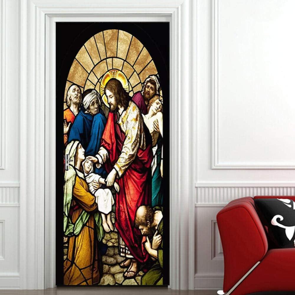 SiJOO DIY Auto-adh/ésif europ/éen /église Peinture Porte Stickers Papier Peint Affiche Salon Chambre Porte h/ôtel PVC Mur /étanche 3D peintures murales