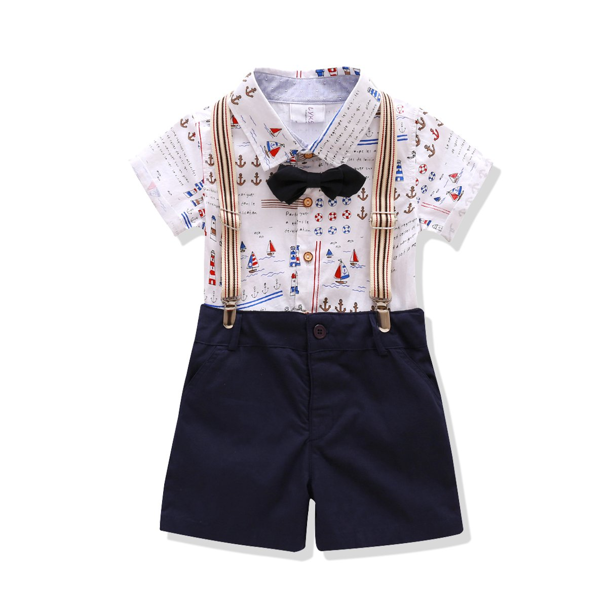 little boys Outfit,Bowtie Gentleman Suspender Clothing Set(7T) by Lkysaw
