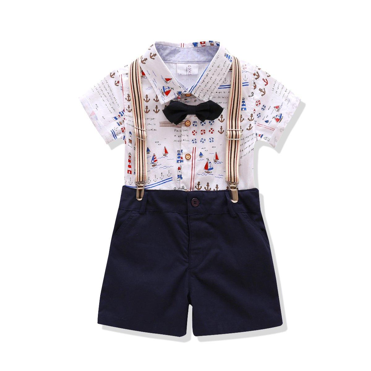 little boys Outfit,Bowtie Gentleman Suspender Clothing Set (6T)