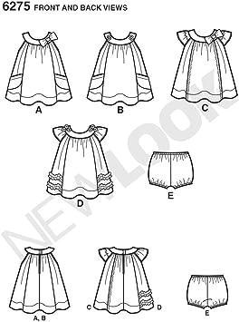 NB-Small-Medium-Large Simplicity Creative Patterns Look 6275 Babies Dress Panties A