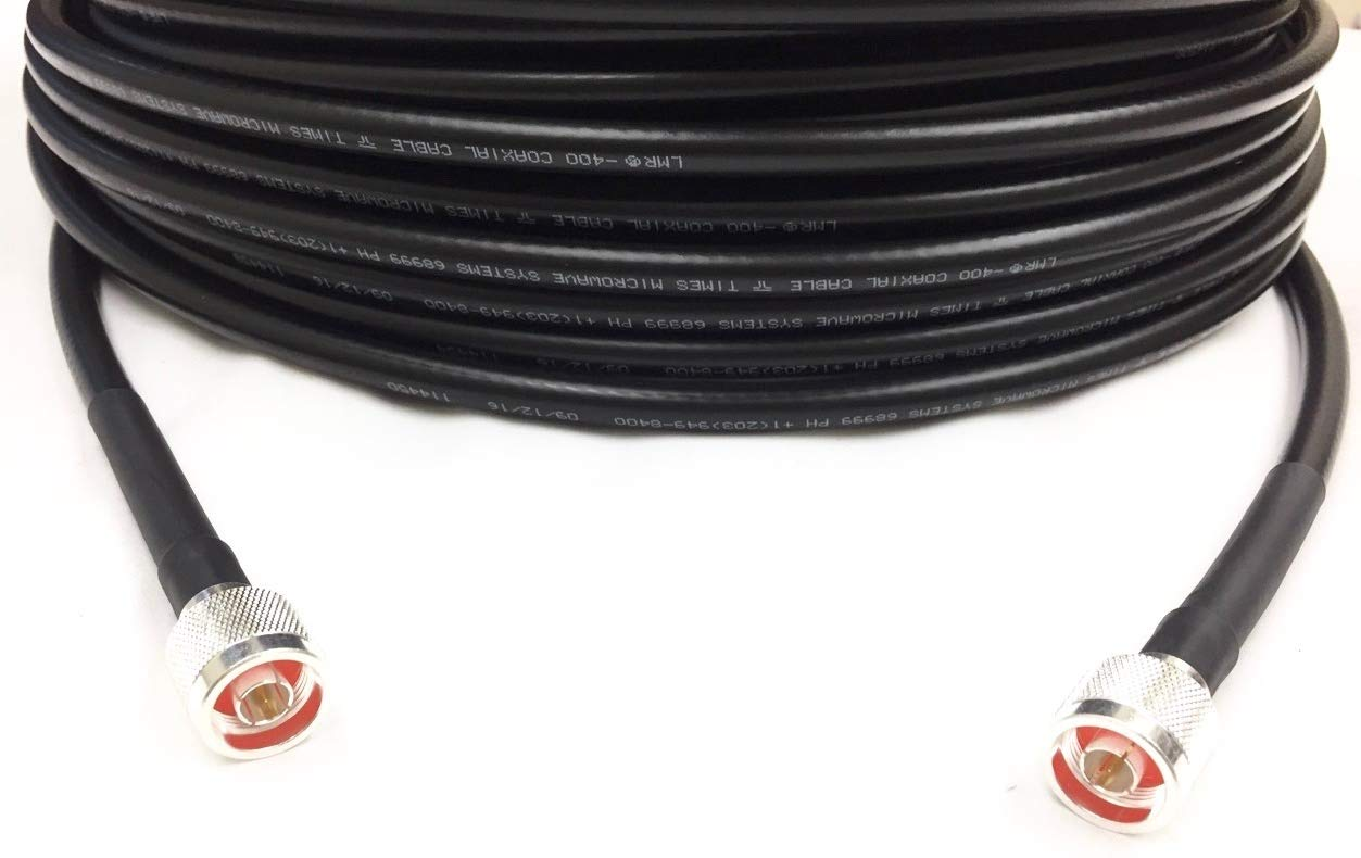 Custom Cable Connection Coaxial Cable LMR-400 Times Microwave N Male to N Male 200 Black (10355-200C)