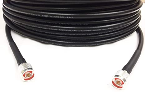 Custom Cable Connection Coaxial Cable LMR-400 Times Microwave N Male to N Male 6 Black (10355-6C)