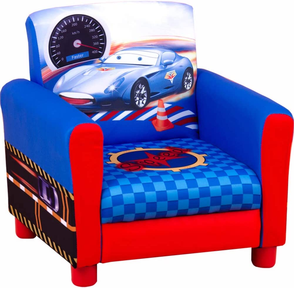 LoveHome Kid armrest, Cartoon car Kid Sofa Upholstered Open Foam Child Sofa Chair Toddler Furniture for Living Playing Room -Blue 31x31x20cm(12x12x8)
