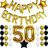50th BIRTHDAY PARTY DECORATIONS KIT - Happy Birthday Foil Balloons, 50 Number Balloon Gold, Balck Gold and White Latex Balloons,Perfect 50 Year Old Party Supplies, Free Bday Printable Checklist