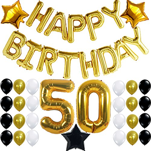 [50th BIRTHDAY PARTY DECORATIONS KIT - Happy Birthday Foil Balloons, 50 Number Balloon Gold, Balck Gold and White Latex Balloons,Perfect 50 Year Old Party Supplies, Free Bday Printable Checklist] (Happy Birthday Party Kit)