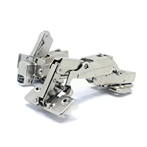T&B 175 Degree Hinges Frameless Cabinet Hinges Hydraulic Adjustable Mounting Concealed Hinges Soft Closing Stainless Steel Buffer Dampers for Wardrobe,1 Pair (Full Overlay)
