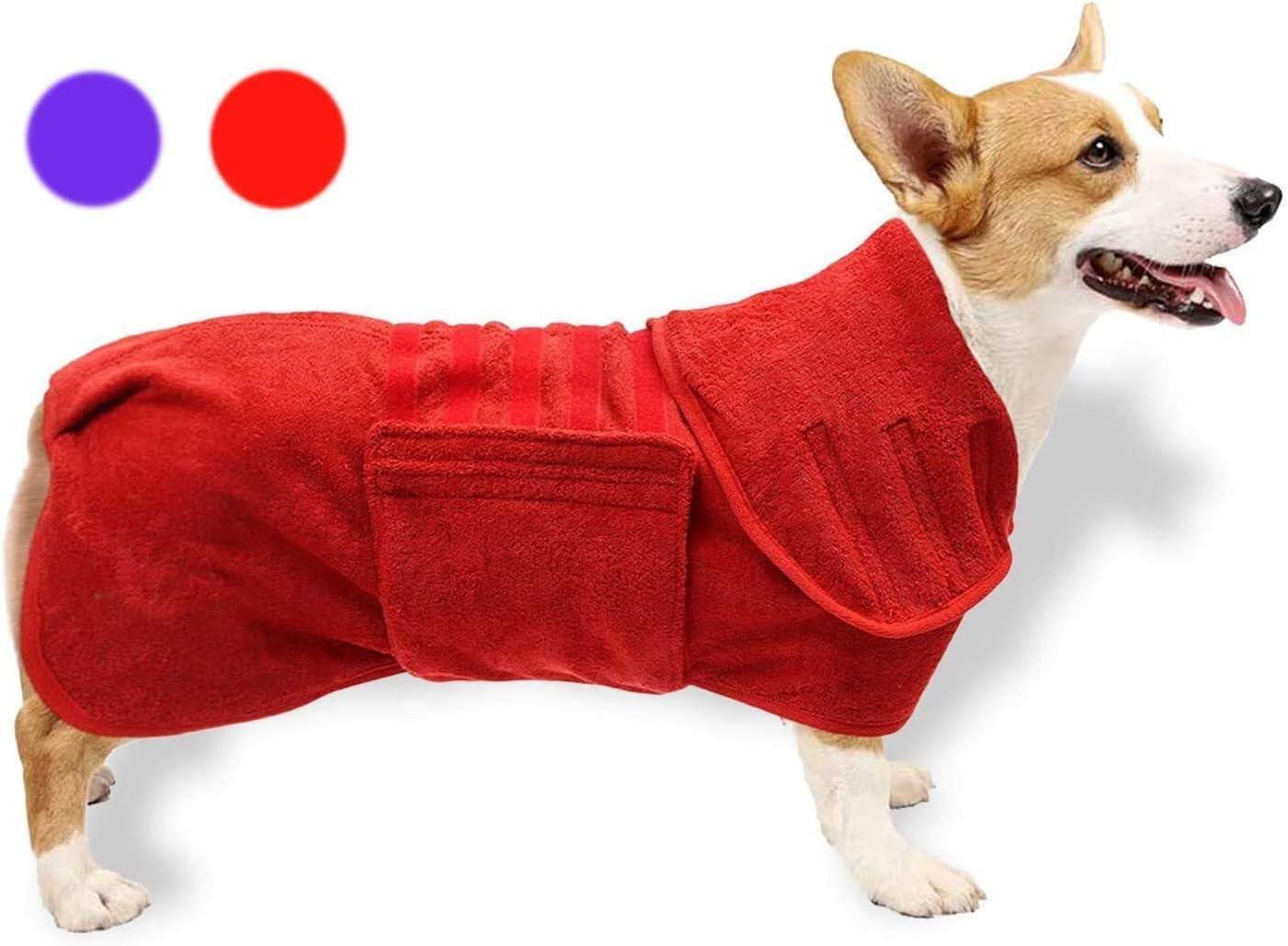 GZGZADMC Toalla de secado para perro, de secado rápido, súper absorbente, toalla de microfibra ajustable, bata absorbente para perro, 32-38 cm, color rojo
