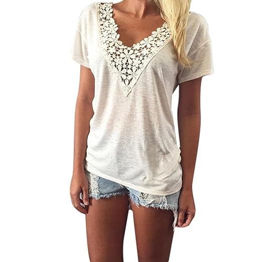 DondPO Women Short Sleeve Summer T-Shiirt V Vest Neck Top Sexy Blouse Casual Tank