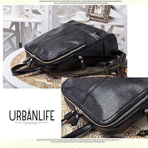 Anne - Bolso mochila  de Piel para mujer negro granate negro