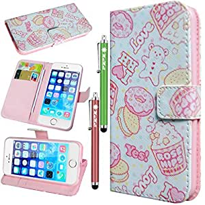 MaxMall Cookie Bear Cake PU Leather Stand Card Wallet Case Cover for Apple iphone 5/5S