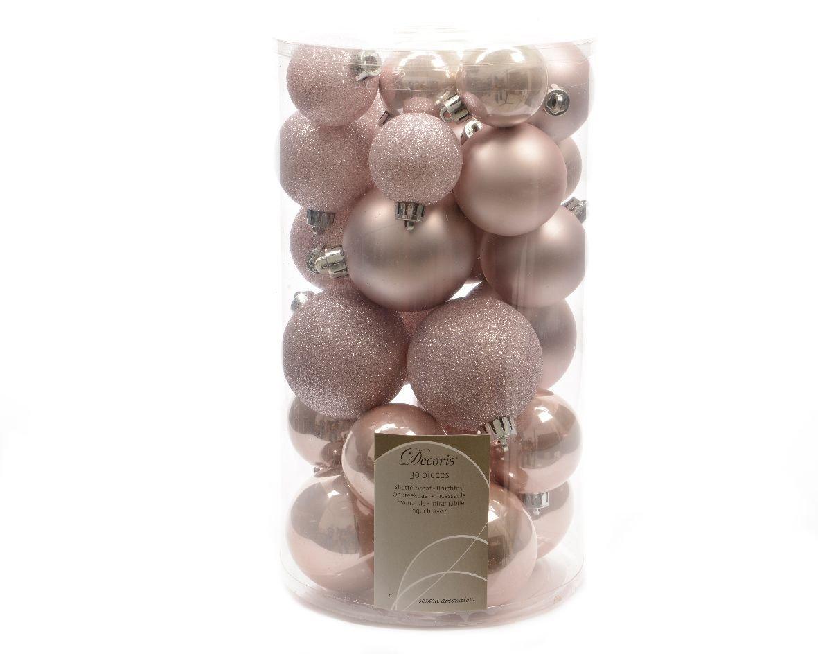 30 Luxury Shatterproof Christmas Baubles Decorations - Blush Pink - 340596 Kaemingk