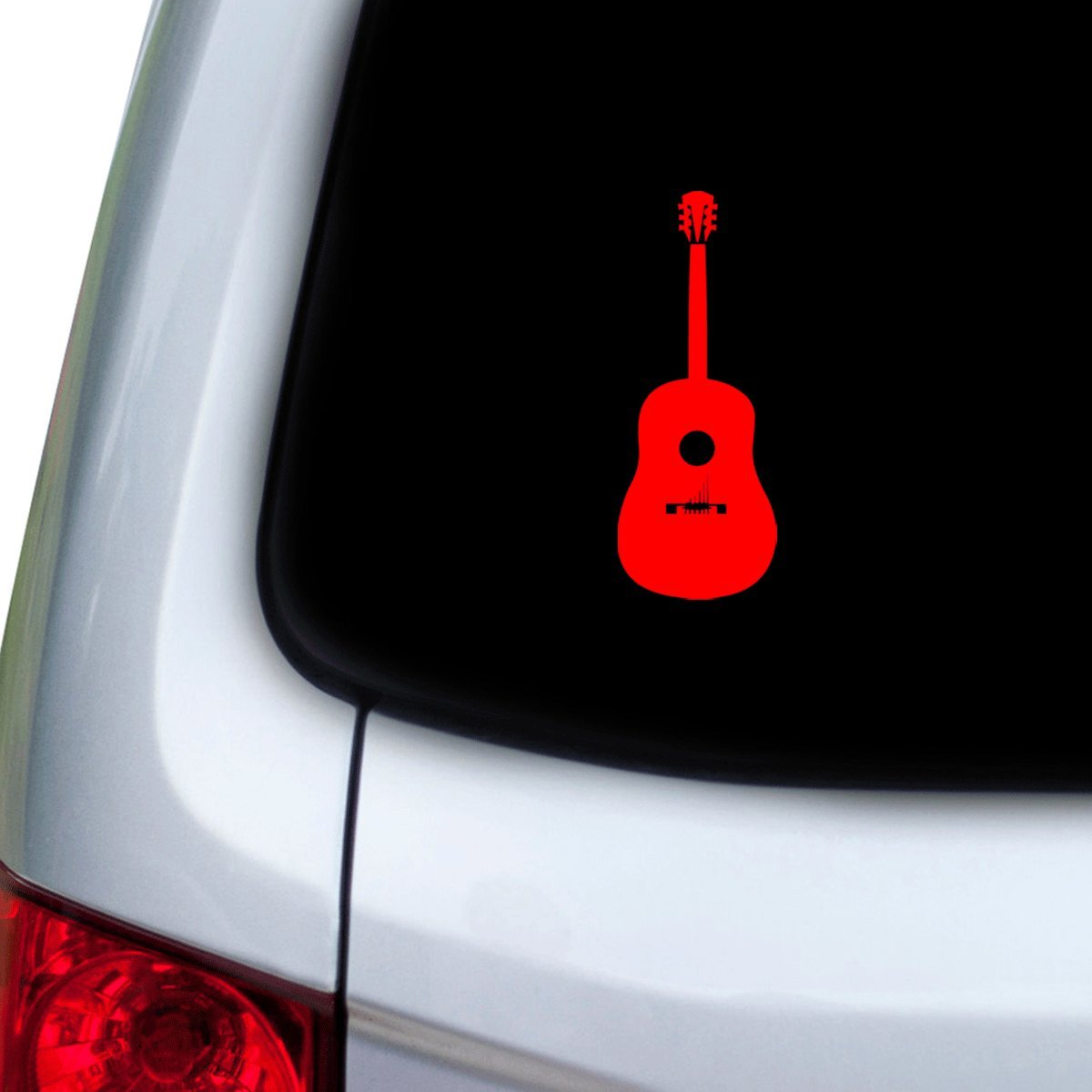 Hoods StickAny Car and Auto Decal Series Acoustic Guitar Sticker for Windows Red Doors