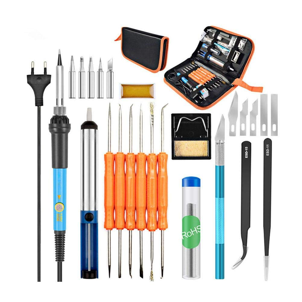 dacyflower 60W Electric Soldering Iron Kit with Adjustable Temperature Soldering Iron Welding Torch Welding Repair Kit, Soldering Iron 8-in-1 Full Set 110V by dacyflower (Image #1)