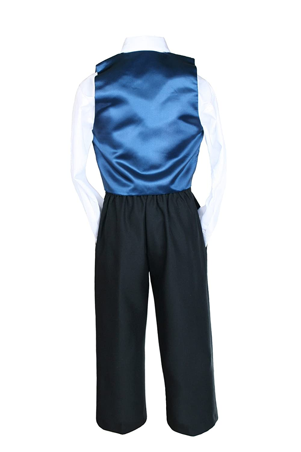 Unotux Boy Satin Shawl Lapel Suits Tuxedo with Green Teal Bow Tie Vest Sets S-20