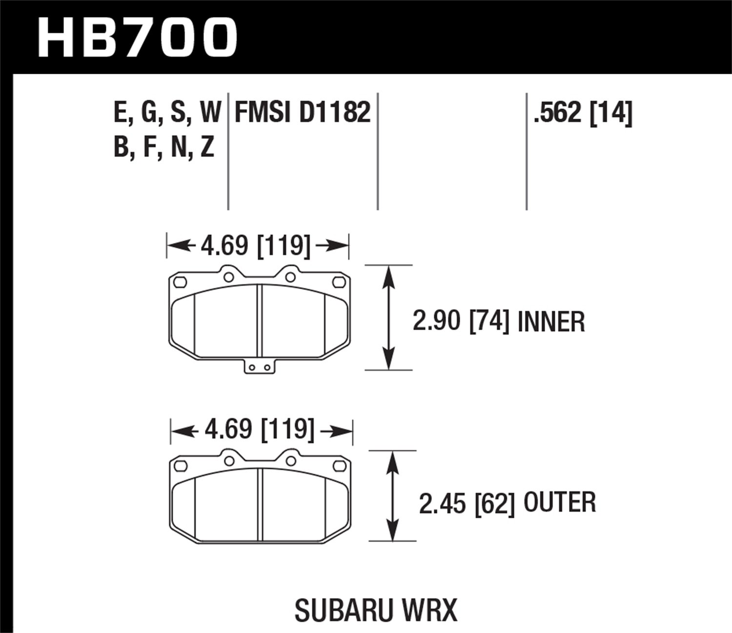 Hawk Performance HB700B.562 HPS 5.0 Disc Brake Pad