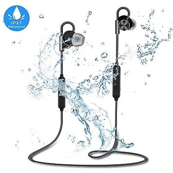 ALWUP Auriculares Inalámbricos, Auriculares Bluetooth IPX7 Impermeables Cascos Bluetooth a Prueba de Agua 4.1, Auriculares Inálambricos Deportivos con ...