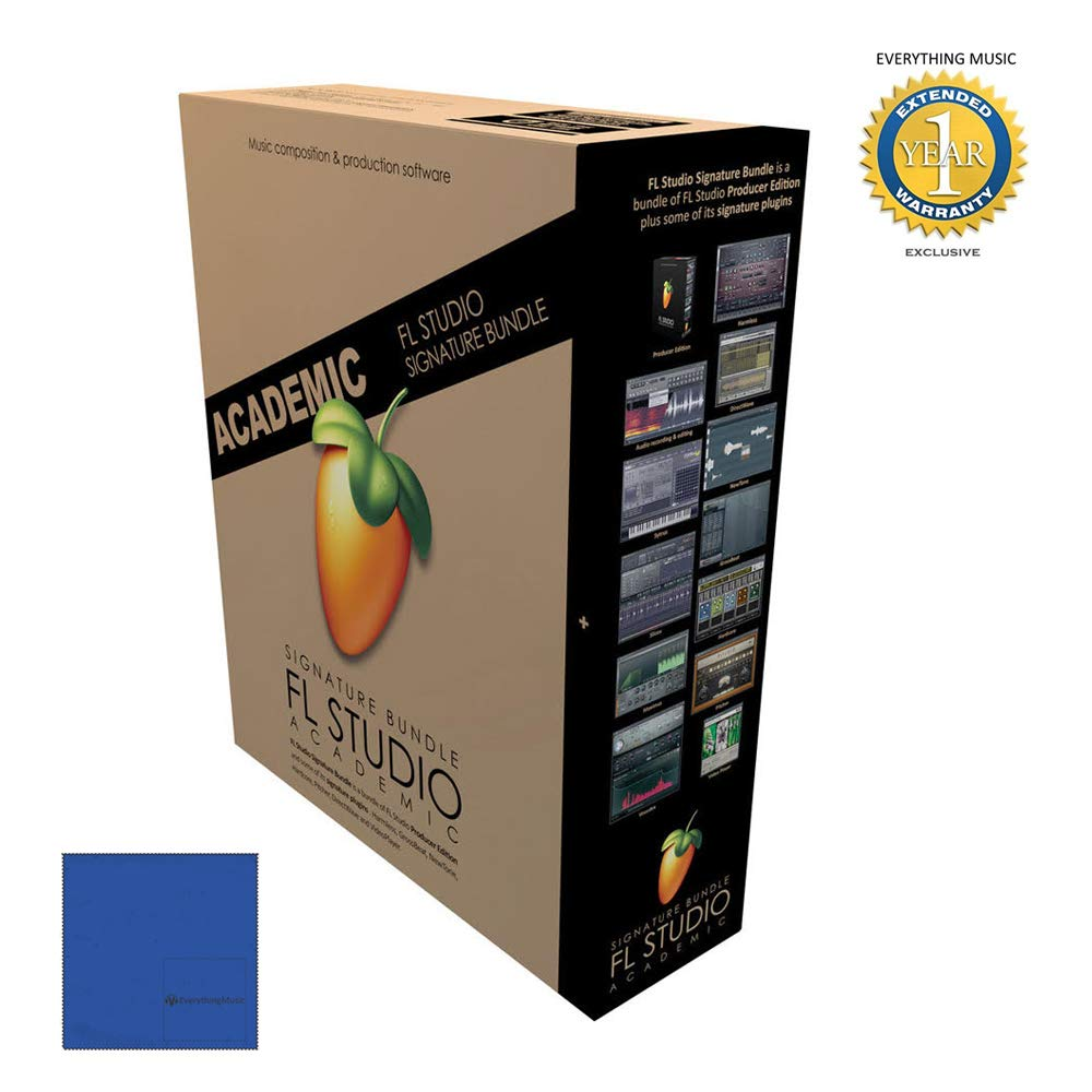 Fl Studio 20 Signature Edition Academic Student/Teacher Boxed with Microfiber and 1 Year Everything Music Extended Warranty by Image-Line
