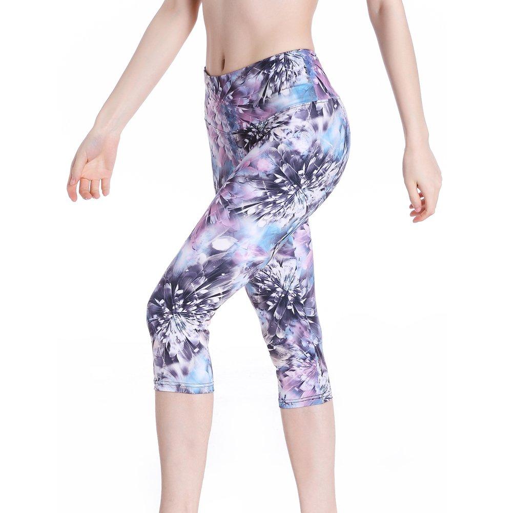 TALLA S. SEYO Pantalones de Yoga Mujer Leggins Leotardos Capri Impreso Mallas Deportivas No ver a Través (Diamond Grey, Small)
