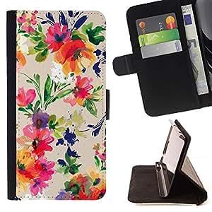 For Sony Xperia Z1 Compact / Z1 Mini (Not Z1) D5503 Case , Arte Floral Flores vibrante- la tarjeta de Crédito Slots PU Funda de cuero Monedero caso cubierta de piel