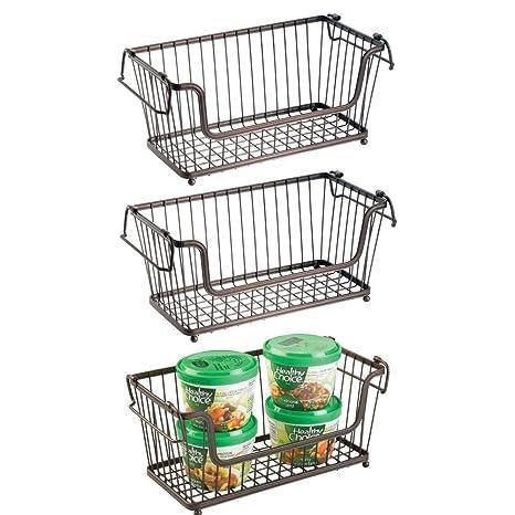 despensa o ba/ño Uso universal en la cocina Organizador cocina de acero de alta calidad mDesign Cesta almacenaje apilable con apertura frontal y asas bronce