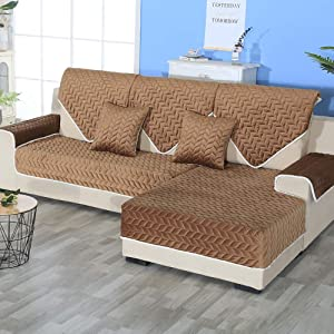 Sofa slipcover Reversible Sofa Cover,Velvet Anti-Slip Lace Couch Cover Quilted Furniture Protector for Pet Chair Loveseat Brown 110x160cm(43x63inch)
