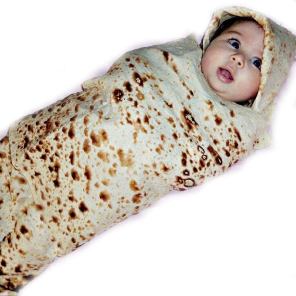 25/% Cotton Flour Tortilla Blanket Baby Swaddle with Hat 22 Inch Burrito Blanket Set Sleeping Swaddle Wrap Hat 75/% Polyester