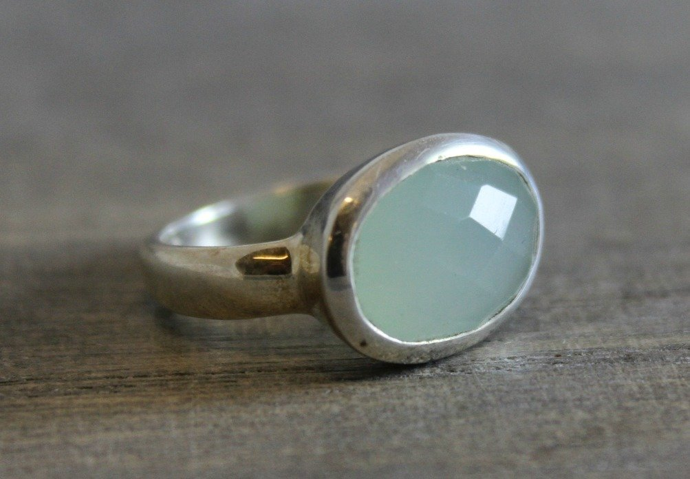 10x14 Oval Aqua Chalcedony Sterling Silver Ring, size 8 Gifts for Women