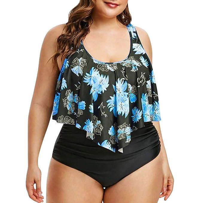 Longra 🍀 💓 Traje de baño Casual en la Playa! Mujeres Populares Styliah Tallas Grandes Sexy Bikini sólido Conjunto de Trajes de baño brasileños Ropa de ...