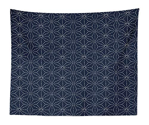 Lunarable Japanese Tapestry King Size, Oriental Motifs with Dotted Lines Geometric Shapes on Blue Shade Backdrop, Wall Hanging Bedspread Bed Cover Wall Decor, 104 W X 88 L Inches, Indigo and White
