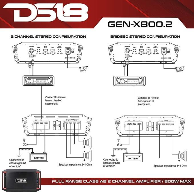 DS18 800 W 2 Canal Coche Amplificador de Audio Bass Remote único Knob: Amazon.es: Electrónica