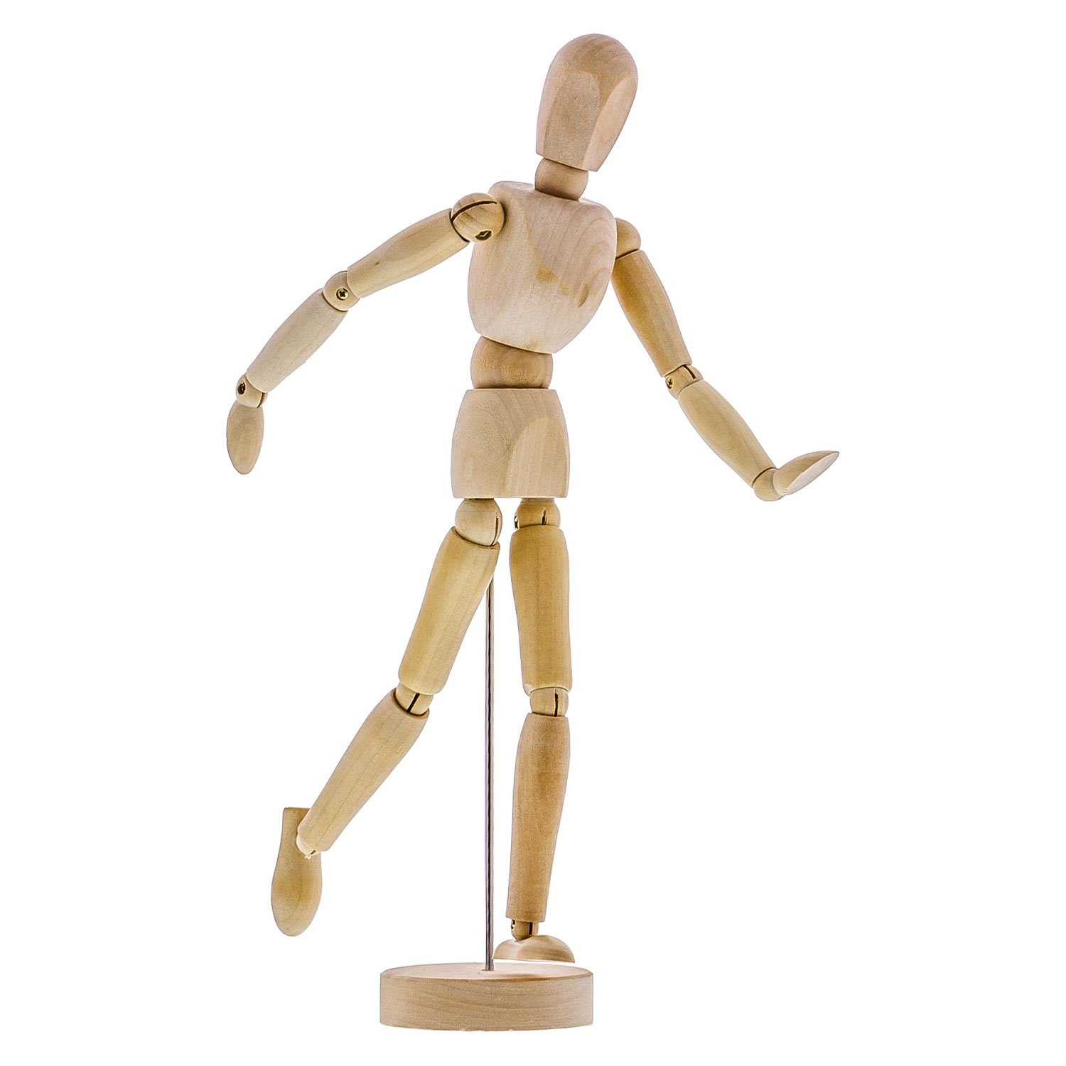 US Art Supply Wood 12'' Artist Drawing Manikin Articulated Mannequin with Base and Flexible Body - Perfect For Drawing the Human Figure (12'' Male) by US Art Supply