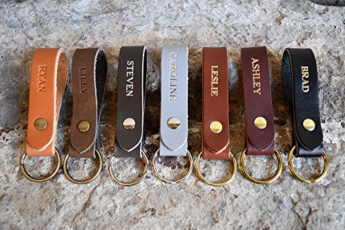 ain. Personalized Key fob. Monogrammed Full Grain Leather key chain. Free Shipping. Handmade in USA. Gold and Silver Foil Available. Personalized Leather Keychain. (Handmade Leather Keychain)