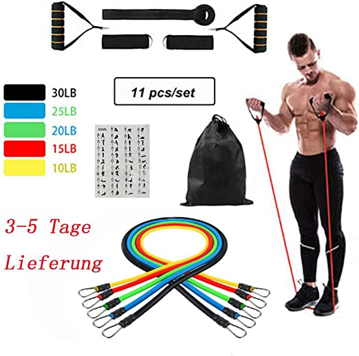 11Pc//Set Resistance Bands Exercise Yoga Fitness Workout Training Strength-Tube