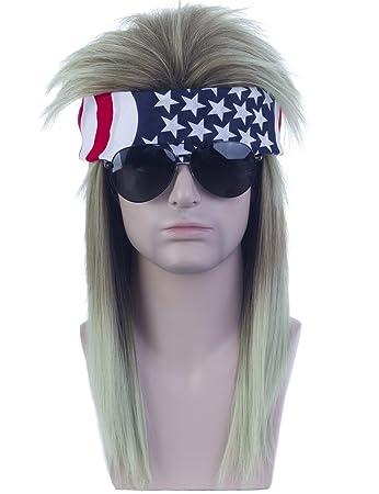 Amazon.com   Angelaicos Unisex Mullet Wig 70s 80s Vintage Retro Rocker  Disco Long Brown Green Hair Bandana   Beauty 3ec2537d00a