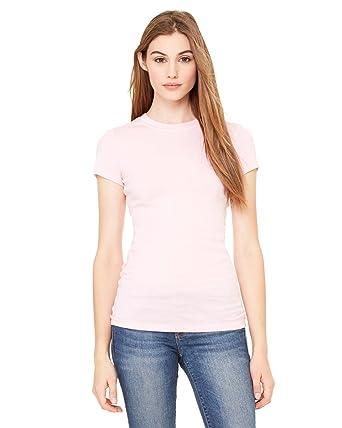 e0c7f60f4 Bella - Ladies' Sheer Mini Rib Short Sleeve Longer Length T-Shirt ...