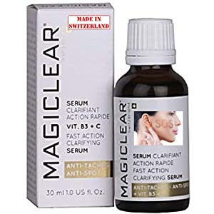 Luxury Dark spot remover for Face and Body Serum - Age spot corrector Acne scar treatment - Anti aging - Whitening Lightening Bleaching Vitamin C Best organic Swiss brand Magiclear 30 ml 100% result