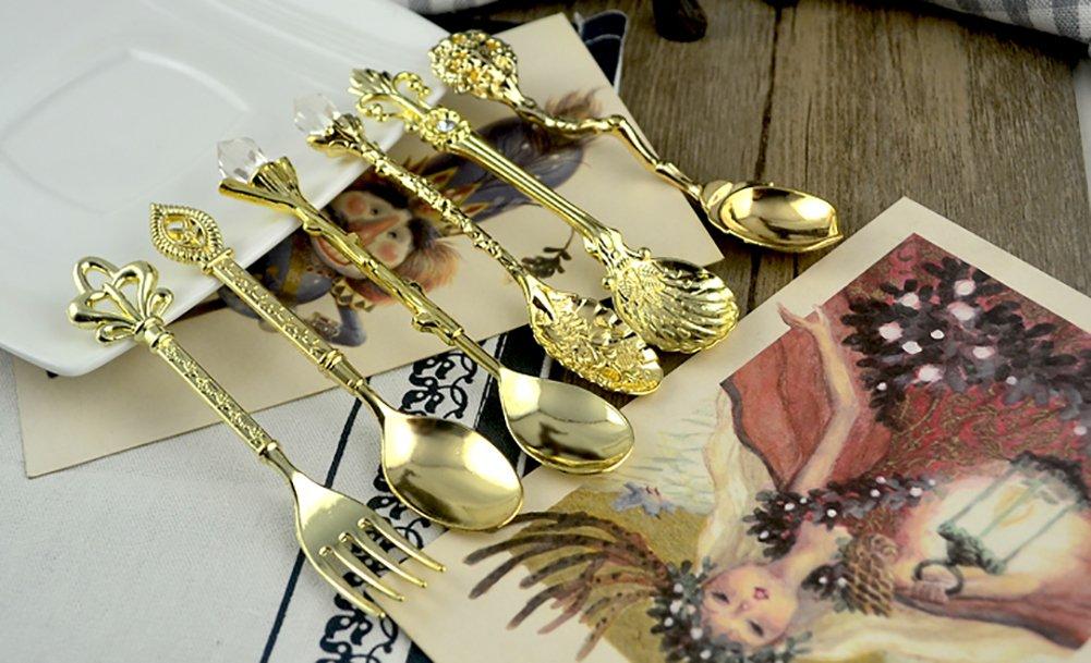 gold Dessert- und Fruchtl/öffel f/ür Bistro 6 Sets Eis- HiveNets 6-teiliges L/öffel-Set aus Edelstahl plastik Kaffee Teel/öffel