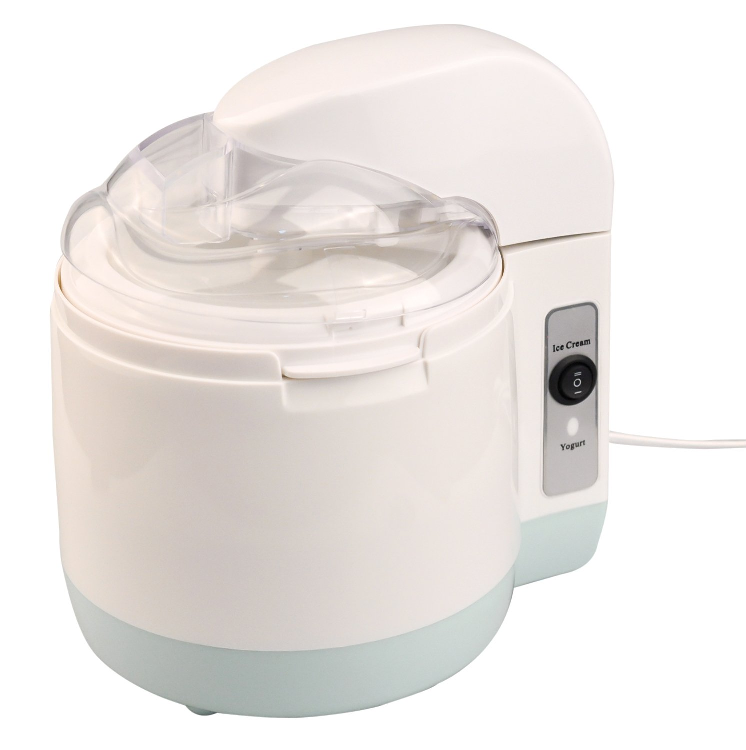 PowerDoF Ice Cream Maker, Automatic Frozen Yogurt Machine for Home, Small, White