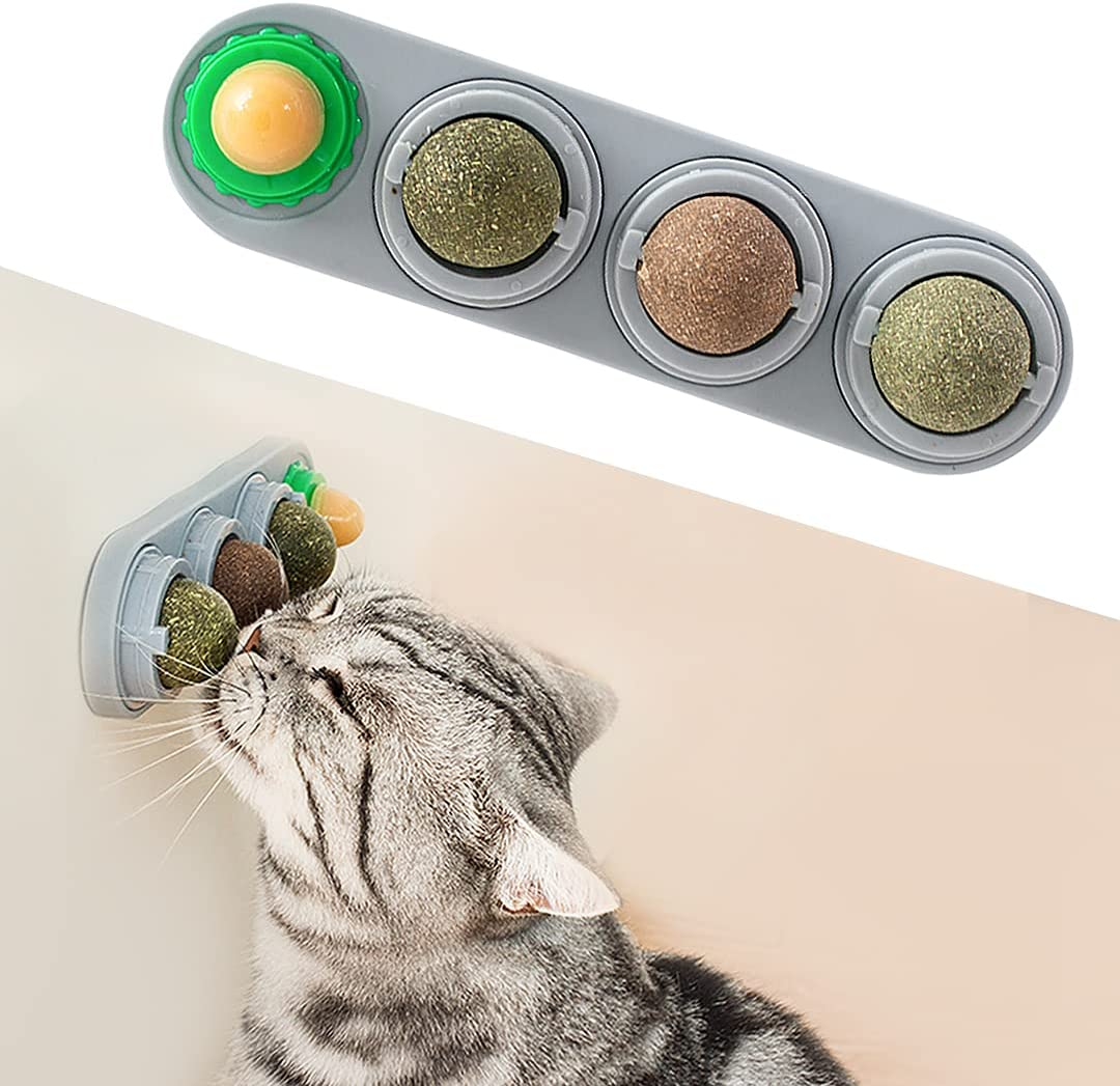 Potaroma 4 Pack Catnip Balls, Silvervine Matatabi Balls, Edible Kitty Toys for Cats Lick, Safe Healthy Kitten Chew Toys, Teeth Cleaning Dental Cat Toy, Cat Wall Treats