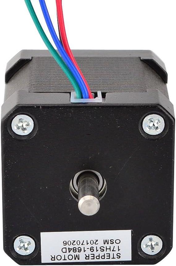 STEPPERONLINE Double Shaft Nema 17 Stepper Motor 1.68A 45Ncm Bipolar 4-wires 3D Pinter DIY CNC